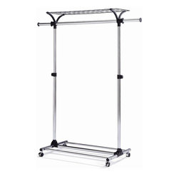 New Spec - Mobile Garment Rack in Silver - Metal Frame. Wheel. Extendable and Adjustable Height . 17.72 in. W x 39.37 in. D x 66.93 in. H (10 lbs)