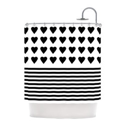 "Kess InHouse - Project M ""Heart Stripes Black and White"" Monochrome Lines Shower Curtain - Finally waterproof artwork for the bathroom, otherwise known as our limited edition Kess InHouse shower curtain. This shower curtain is so artistic and inventive, you'd better get used to dropping the soap. We're so lucky to have so many wonderful artists that you'll probably want to order more than one and switch them every season. You're sure to impress your guests with your bathroom gallery in addition to your loveable shower singing."