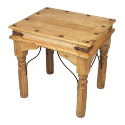 Mexican Pine End Table with Wrought Iron - This rustic pine end table with iron corner brackets and clavo nailheads is made with kiln dried pine. Shipping included.