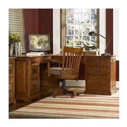 Riverside Furniture - Seville Square L-Shaped Computer Workstation - The Seville Square collection is a celebration of the classic office style loaded with function for today's home office. Use each piece alone or as a part of a coordinated home office collection. Features: -L-shaped computer workstation.-Mounted on ball-bearing extension guides.-One locking left hand door encloses an adjustable center shelf, a bottom pullout shelf on ball-bearing guides, a power control panel and small drawer.-One pullout writing shelf above left hand door.-Center drawer mounted on ball-bearing extension guides has a drop-front face.-Can be utilized as a keyboard/mouse work area or a conventional drawer.-One pullout writing shelf located above right hand drawers.-Wiring access holes in back panel and inside end panel.-Open ventilation slot on inside end panel.-Locking file drawer accommodates either letter or legal file folders.-Center drawers are interchangeable to accommodate either a left-hand or right-hand preference.-Base levelers.-Constructed of ash hardwood solids and oak veneers.-Storage drawer features felt-lined bottom, pencil tray storage and dovetail joinery construction.-Seville Square collection.-Distressed: No.-Collection: Seville Square.Dimensions: -Left hand computer desk dimensions: 30'' H x 68'' W x 29'' D.-Right hand return dimensions: 29'' H x 46.125'' W x 22'' D.-Overall Product Weight: 353 lbs.