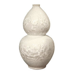 Belle & June - Crystal Shell Gourd Vase - Bubbly and bright, this snow-white vase is a bona fide charmer. Its subtle sheen and shell-like texture give it an enchanting allure while its unique hourglass shape makes it hard to peel your eyes away. Use this statement piece in your Asian-inspired room as a beautiful, uplifting accent that adds impact and grace.