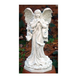 "Ladybug - ""Thank Heaven"" Angel in Dover White Finish - Weather resistant finish. 1-Year warranty. Made in the USA. Made of pecan shell resin. 12.50 in. W x 10 in. D x 23 in. H (7 lbs.)The finishes are applied by hand, enhancing every detail, and resulting in the uniqueness of no two pieces being exactly alike. Each individually hand-crafted piece of Ladybug product is cast in a crushed marble or resin composition which has the ability to capture and reproduce the same definition and minute detail as the original. It is a substantial, non-porous material which does not absorb moisture, making it ideal for outdoor use, although it offers the strength and durability required to endure even extreme weather conditions."