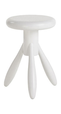 Artek - Artek Eero Aarnio Baby Rocket Stool - A modern day miniature milking stool, the Baby Rocket Stool is a scaled down version of designer Eero Aarnio's 1995 work the Rocket Bar Stool. Perfect for little ones to pull up a seat to play and learn, this 2006 model has the same stout, rounded legs that appear even plumper in the shorter stature. The original Rocket Stool was designed for Aarnio's own kitchen, but the compact and versatile design of the Baby allows you to incorporate it throughout the entirety of your home. This piece can double as an end table or as a pedestal to display something special; let the Artek Baby Rocket Stool's creative, inspired design inspire you, too.