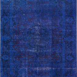 """ALRUG - Handmade Indigo Persian Antique Overdyed Rug 6' 2"""" x 9' 5"""" (ft) - This Persian Overdyed design rug is hand-knotted with Wool on Cotton."""