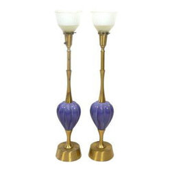 "Rembrandt Lapis Blue & Brass Lamps, Pair - Pair of brushed brass and lapis blue ceramic table lamps by Rembrandt Lighting. Milk glass diffusers are included. Wired for US use and in working condition. UL Approved. Use 100W standard bulbs(Bulbs not included). Lamps are 32""H to top of sockets, 36""H to top of finials."