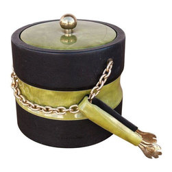 Georges Briard - Pre-owned Georges Briard Vintage Chain Ice Bucket With Tongs - This vintage black and green ice bucket with gold-plated chain is ready to go to the party! The original tongs are included which is rare. We'll take it on the rocks, please!
