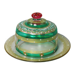 Christmas  Garland Cheese Dome - This lovely hand painted cheese dome set is from our Mosaic collection and inspired by the colorful tiles of the Alhambra.  This collection is perfect for Christmas or any occasion.  Something to be handed down from generation to generation.  Proudly hand painted in the USA.