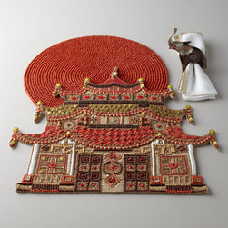 Kim Seybert Pagoda Placemat - These pagoda placemats by Kim Seybert are the ultimate in holiday table setting.