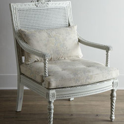 "Shabby Chic - Shabby Chic ""Landen"" Parlor Chair - Don't have a parlor? Doesn't matter! With its cane back, hand-carved frame, barley-twist accents, back-support cushion, and neutral coloration, this impressive chair provides classic seating anywhere you need it. Handcrafted of solid mahogany with can..."