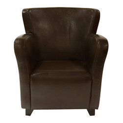 Moe's Home Collection - Moe's Home Tyne Club Chair in Dark Brown - Arm chair. Use in living room, dining room, bedroom.