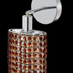 Elegant Lighting - Mini Ellipse Chrome One-Light Bath Fixture with Royal Cut Topaz Brown Crystal an - Royal Cut crystal is a combination of high quality lead free machine cut and machine polished crystals and full-lead machined-cut crystals to meet a desirable showmanship of an authentic crystal light fixture.  -Recommended to be professionally hung and supported independently of the outlet box. Consult an electrician for guidance to determine the correct hanging procedure.  -Crystals may ship separately and some assembly is required.  -Depending on the size & design the assembly can be time consuming, but is well worth the effort. Elegant Lighting - 1281W-R-E-TO/RC