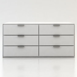 Modloft - Thompson Dresser in White Lacuqer - The Thompson six-drawer split dresser with chrome handles matches any modern bedroom decor. Available in wenge or walnut wood finishes. Also available in white lacquer finish. Ships fully assembled. Imported.