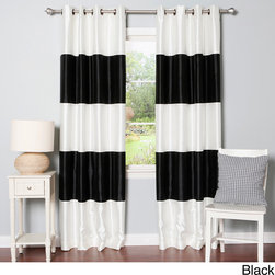 None - Striped Dupioni Grommet Top Blackout Curtain Panel Pair - These elegant and sophisticated striped faux silk blackout curtains will be a luxurious addition to your home decor. Ideal for late sleepers and shift workers,this curtain set blocks out 99.9-percent of light and insulates against the heat and cold.