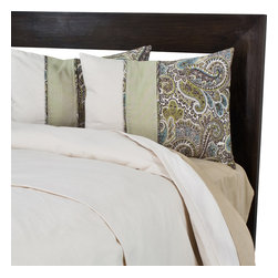 """Sands - Chooty - Becky's Queen Duvet with 2"""" Topstitched Fold Over and 2 Paisley Shams - Instantly bring elegance to your bedroom with this modern Duvet Set.  The neutral color of the duvet is embellished by 2 shams in a classic paisley pattern in hues of brown, blue, and green. This beautiful bedding will create a lavish look in any bedroom. (Queen Size - 90""""W x 94""""L)"""