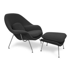 Fine Mod Imports - Eero Saarinen Style Womb Chair and Ottoman, Black - This wonderful Eero Saarinen style chair features a molded fiber-glass frame, fire retardant polyurethane foam padding, and covered with wool fabric. 100% Wool Solid Stainless Steel Base.