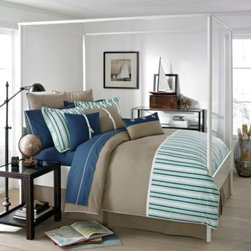Southern Tide - Southern Tide Channel Marker Comforter Set - The soothing colors and classic details of the Southern Tide Channel Marker Comforter Set evoke salty sea breezes. In khaki twill highlighted with nautical blue and green stripes, the plush bedding instantly brings a nautical theme to your room.