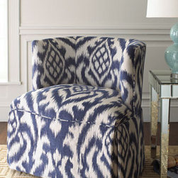 """Cadet"" Chair - The ""Cadet"" chair sports a  bold, beautiful blue and white pattern that will captivate and energize.  This chair swivels for added flexibility and comfort.28.25""W x 26.5""D x 30""T"