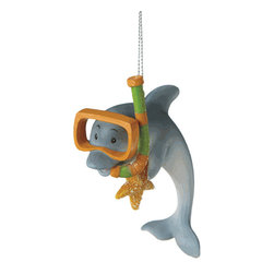 Midwest CBK - Snorkeling Dolphin Christmas Tree Ornament - Summer Swim Diving Ocean Holiday - Snorkeling Dolphin Christmas Ornament