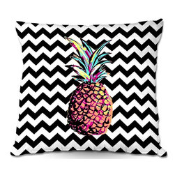 DiaNoche Designs - Pillow Linen by Organic Saturation - Party Pineapple Chevron - DiaNoche Designs works with artists from around the world to create astouding and unique home decor products.  Add a little texture and style to your decor with our Woven Linen throw pillows.  The material has a smooth boxy weave.  Each pillow is machine loomed, then printed and sewn ALL IN THE USA!!!  100% smooth poly with cushy supportive pillow insert with a hidden zip closure. Dye Sublimation printing adheres the ink to the material for long life and durability. Double Sided Print, machine wash upon arrival for maximum softness. Product may vary slightly from image.