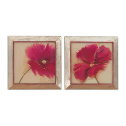 Uttermost - Poppy Power Floral Art Set of 2 - These prints are accented by frames with a heavily distressed, plated, oxidized silver finish with heavy rust and gray wash.