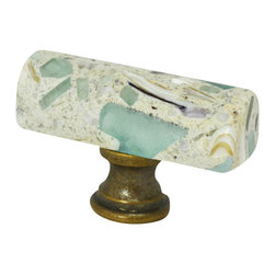 "Pierre Habitat - Architectural Cabinet Knobs H - Make all your home cabinetry ""pop"" with these stylish Architectural Cabinet knobs H from Pierre Habitat. Made with recycled glass that is totally green and sustainable. These pulls not only look good, they are good - for both you and the planet.  Planet-Friendly Hardware designed for you by Pierre Habitat. Sold Single."