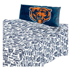 The Northwest Company - NFL Chicago Bears Twin Sheet Set Football Anthem Bedding - Features: