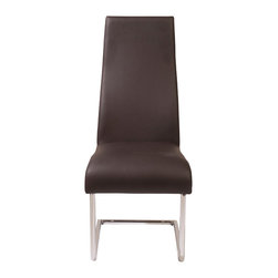 Euro Style - Rooney High Back Side Chair (Set Of 2) - Brown Leatherette/Chrome - Even though it's made for sitting, the Rooney chair is a standout!  Incredibly comfortable leatherette over foam, this armless dining chair is perfect around the table, especially when you want room for everybody!