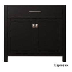 VIRTU - Virtu USA Caroline 36-inch Single-sink Bathroom Vanity Cabinet - The Caroline 36-inch single sink bathroom vanity cabinet is equipped with two soft closing doors,and one shelf. This gorgeous vanity also offers a brushed nickel hardware finish,and wither an espresso or white finish.