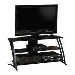 Sauder - Sauder Deco Panel TV Stand in Black - Sauder - TV Stands - 408559 - Sure lots of office and home furnishing manufacturers can help you create an organized comfortable and fashionable place to live. But Sauder provides a special kind of furniture that is practical and affordable as well as attractive and enduring. As North America's leading producer of ready-to-assemble furniture we offer more than 500 items that have won national design awards and generated thousands of letters of gratitude from satisfied consumers.