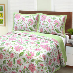 None - Batik Blossom 3-piece Quilt Set - Bring a cheery wave of color to your bedroom with the Batik Blossom Quilt Set. This stylish Jacobean floral design in colors of pink and green is made of pre-washed cotton with a cotton fill. The reverse is a coordinating green dots pattern.