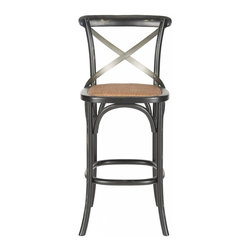 Safavieh - Masselin Barstool - Extend the classic Thonet look from the dining table to the kitchen island or bar with the Masselin X-back barstool.  No chair is as famous as Thonet's bentwood cafe model, and our barstool captures the look in black-finished oak with graceful frame, rattan seat and authentic cross back arch brace in black metal.