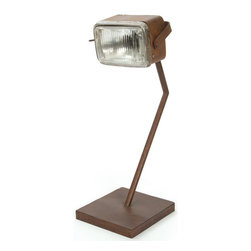 Go Home - Go Home Fulton Lamp - Place Fulton Lamp on your reading desk to light up your space. It has been crafted from vintage motorbike headlight to give this lamp stability. The lamp has beautiful finish in rustic color.