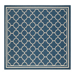 Safavieh - Courtyard Navy and Beige Square: 7 Ft. 10 In. x 7 Ft. 10 In. Rug - - Safavieh takes classic beauty outside of the home with the launch of their Courtyard Collection. Made in Turkey with enhanced polypropylene for extra durability these rugs are suitable for anywhere inside or outside of the house. To achieve more intricate and elaborate details in the designs Safavieh used a specially-developed sisal weave  - Pile Height: 0.25  - Construction: Machine Made  - Easy to Clean?Just sweep vacuum or rinse off with a garden hose. Safavieh - CY6918-268-8SQ