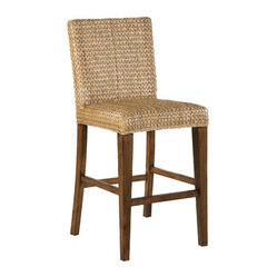 Howard Miller - Seagrass Bar Stool - Features: -Chestnut finished legs. -Padded flex seat and back. -Glides on all legs.