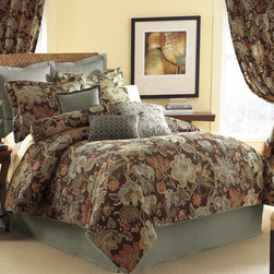 None - Audubon 6-piece Comforter Set with Optional Euro Sham Sold Separately - Dress your bed in elegance with the Audobon 6-piece comforter set constructed of 100-percent cotton. It features a floral pattern in a multicolored finish. This set is available in full,queen,king and California king dimensions.