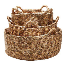 Lazy Susan - Natural Low Rise Baskets, Set of 3 - Natural Low Rise Baskets, Set of 3