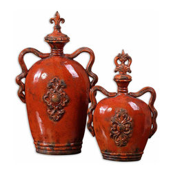 Uttermost - Raya Burnt Orange Containers, Set of 2 - Ceramic Containers Finished In Distressed, Crackled Burnt Orange With Antiqued Khaki Undertones. Removable Lids. Sizes: Sm-11x18x6, Lg-14x24x6