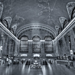 Grand Central Station - Black and white photograph of the Main concourse at NYC Grand Central Station.