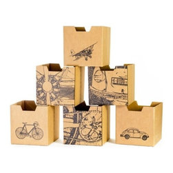 Sprout - City Print Cardboard Cubby Bins 6 Pack - Sprout cardboard cubby bins offer simple, modern, and practical design. Made from recycled cardboard, these bins will help to organize your child's life. Designed for use in the Sprout Cubby, you can store books, toys and more in these fun storage bins. More economical than plastic and canvas bins, Sprout cubby bins feature fun graphic designs, and add a unique touch to any playroom, bedroom or nursery.