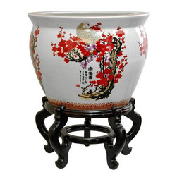 "Oriental Furniture - 20"" Porcelain Fishbowl Cherry Blossom - Fine Japanese style cherry blossom and white crane design, with distinctive black kanji character accents. Ideal for displaying a large indoor tree species or quality silk trees. Also can be used as an alternative end table by fitting with a cut glass top. Elegant Asian accent for a hotel lobby, large living room or foyer, or professional office."