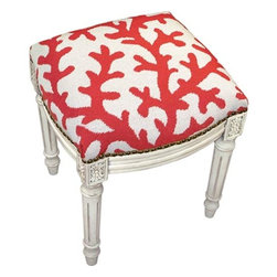 Red Coral Needlepoint Stool - These adorable stools come in many colors and could be used anywhere. I'd like to see them under an empty window, at the foot of the bed, under a pedestal sink (for kids to be able to reach the faucet) — I could go on and on.