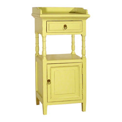 Antique Revival - Butter Alluna Telephone Stand - This tall, petite Alluna Telephone Stand is the perfect accent piece for any number of places in your home: the bedroom, bathroom, kitchen, living room, and more. The bright butter yellow color adds the perfect pop, wherever you choose to display it. The small cabinet, middle shelf and top drawer all provide useful storage options.