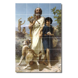 Picture-Tiles, LLC - Homere Et Son Guide Tile Mural By William Bouguereau - * MURAL SIZE: 25.5x17 inch tile mural using (24) 4.25x4.25 ceramic tiles-satin finish.