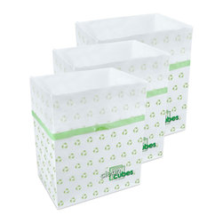 Clean Cubes - Clean Cubes Disposable Bin - 6-Pack Recycle Pattern - When you're entertaining, you've got bigger things to worry about than trash. These ingenious receptacles combine the bin with with the bag. Once one is full, just tie it up and toss the whole thing. Perfect for trash or recycling anytime you need an extra bin or just don't want to have to lug a big bin around.
