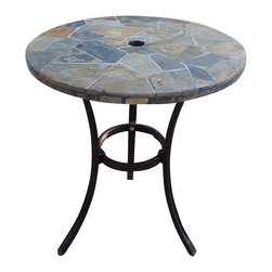 Oakland Living - Oakland Living Stone Art Bistro Table in Black and Coffee - Oakland Living - Patio Bistro Tables - 77103CF - About This Product: