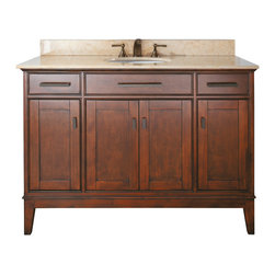 Avanity - Madison 48 in. Vanity Combo Tobacco - The Madison 48 in. vanity combines function with style. The vanity is designed with strong attractive lines and finished in Tobacco with old bronze hardware. It is constructed of solid Poplar wood and veneer with soft-close door hinges and drawer glides. The vanity comes with a black granite top and undermount sink. Also available is a matching mirror, mirror storage cabinet and linen tower to complete your bathroom.