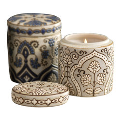 Palmette Scented Candle Jar in Gift Box - Fragrant candles are a traditional, timeless gift to homeowners, hostesses, and dear friends, and the Palmette Scented Candle Jar in its tasteful gift box fulfills this custom with evocative elegance.  The cylindrical ceramic jar and its matching lid are both splendidly detailed with a pattern of Persianesque florals in shades of lapis, creating a luxe, lush appearance on a counter or side table.