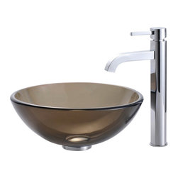 Kraus - Clear Brown 14 in. Glass Vessel Sink and Ramus Faucet (Chrome) - Finish: Chrome