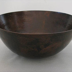 None - Oil Rubbed Bronze 13-inch 15-gauge Copper Vessel Sink - This beautiful vessel sink from Unikwities is hand-hammered and formed of 15-gauge copper then finished in oil rubbed bronze. Since it is crafted of real copper,the finish on this bathroom sink will naturally gain a beautiful patina.