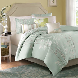 "Madison Park - Madison Park Athena 6 Piece Duvet Cover Set - Decorate your room with this fresh floral jacquard bedding collection. The duvet and shams feature a soft Seafoam green color that is accent with ivory and taupe. Three decorative pillows are included to complete the whole look. Duvet & Sham: 100% poly jacquard face;brushed back; 18x18"" Pillow: 100% poly charmeuse both sides, face with embroidery, poly fill; 12x20"" Pillow: 100% poly solid pieced at face, 100% poly solid back, poly fill"